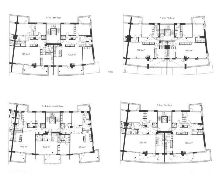 Floor plans, Kesäkatu Housing
