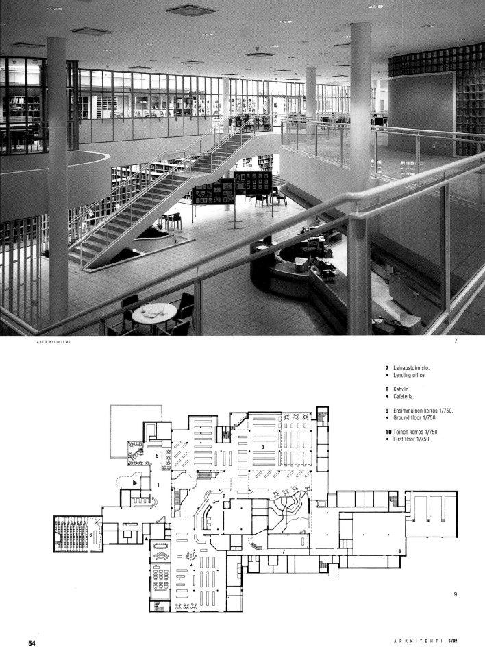 Main hall and ground floor floorplan, Lahti Main Library
