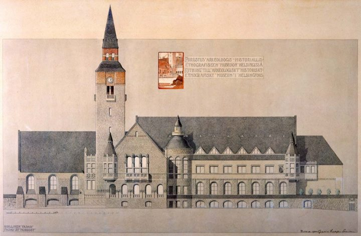 Drawing of east elevation facing Mannerheimintie, 1904., National Museum