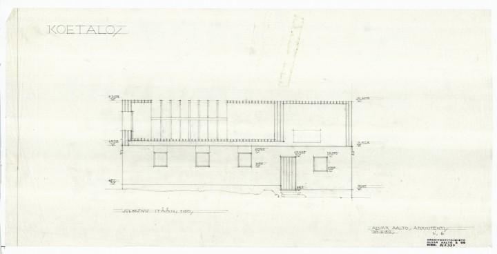 East elevation, Muuratsalo Experimental House