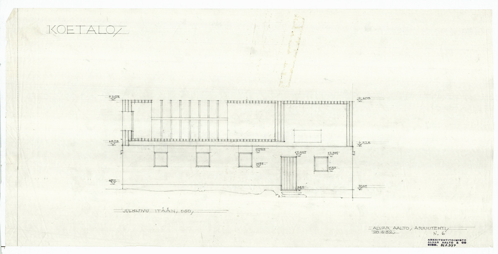 alvar aalto museum east elevation muuratsalo experimental house - Alvar Aalto House Plans
