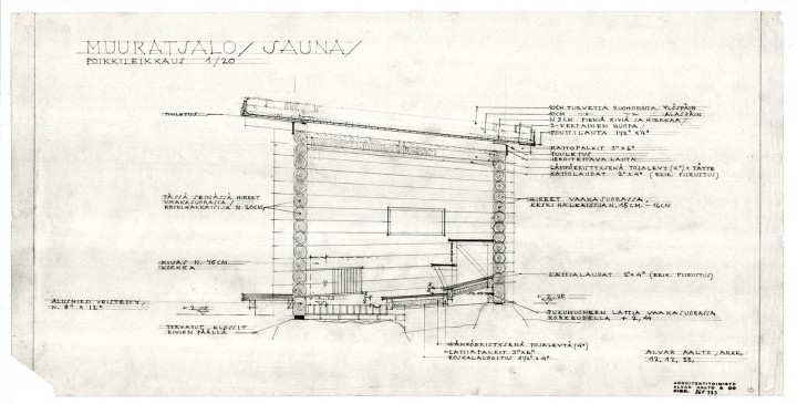 Sauna, section, Muuratsalo Experimental House
