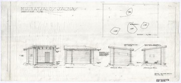 Sauna, elevations and foundation rocks, Muuratsalo Experimental House