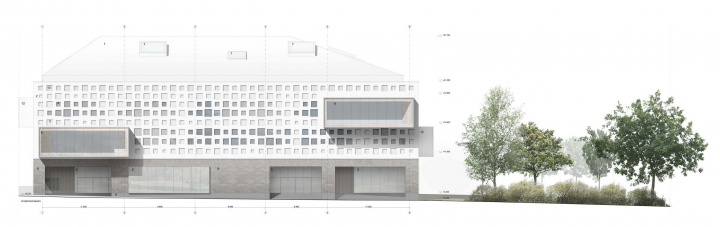 The façade plan, Jätkäsaari School