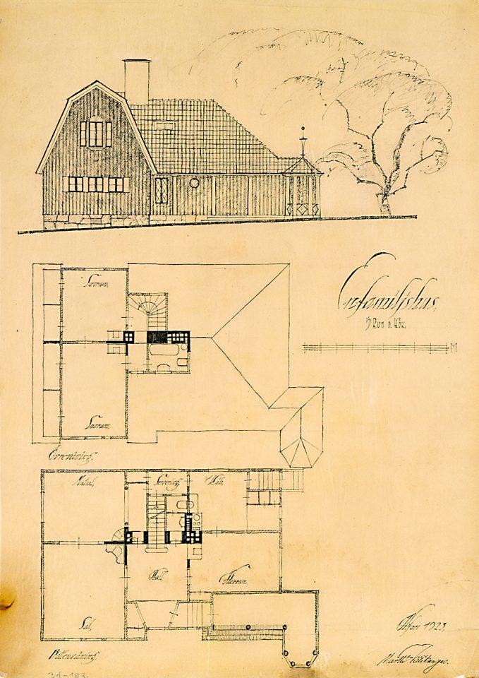 Original draving of a wooden type building, Puu-Käpylä Wooden House Area