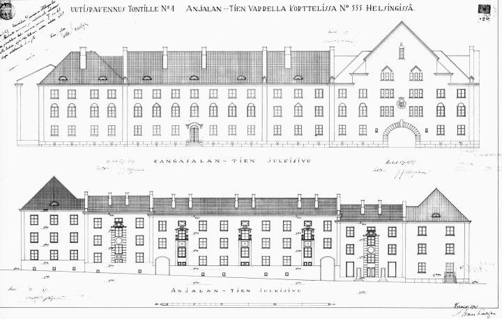 Original drawings by Armas LIndgren and Bertel Liljequist, Workers' Housing for Kone ja Silta Ltd