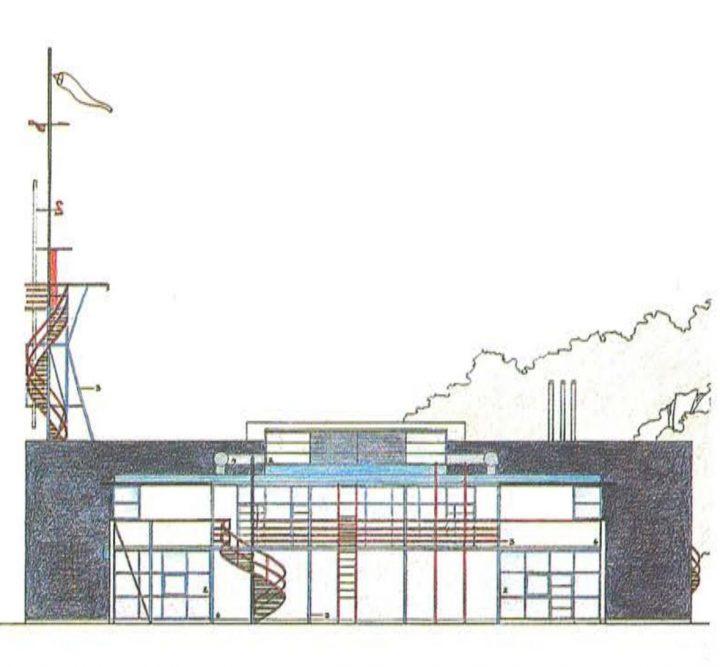 Western elevation plan, Niittykumpu Fire Station