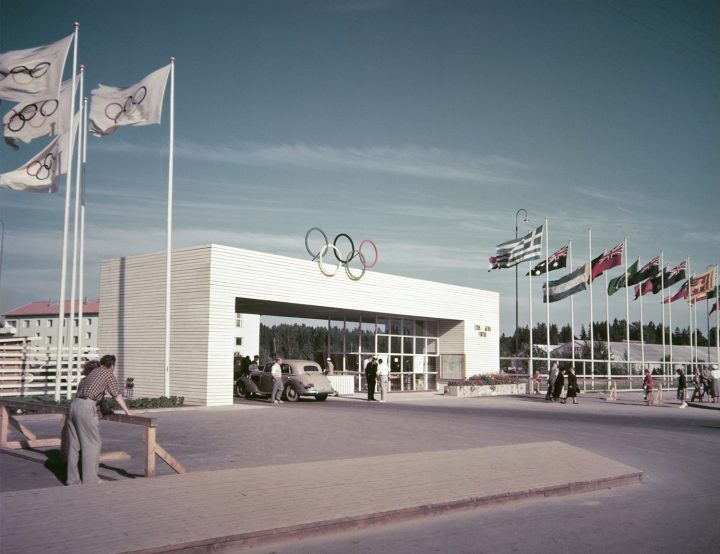 The gate to the Games Village in the 1952 Olympic Games, Olympic Village