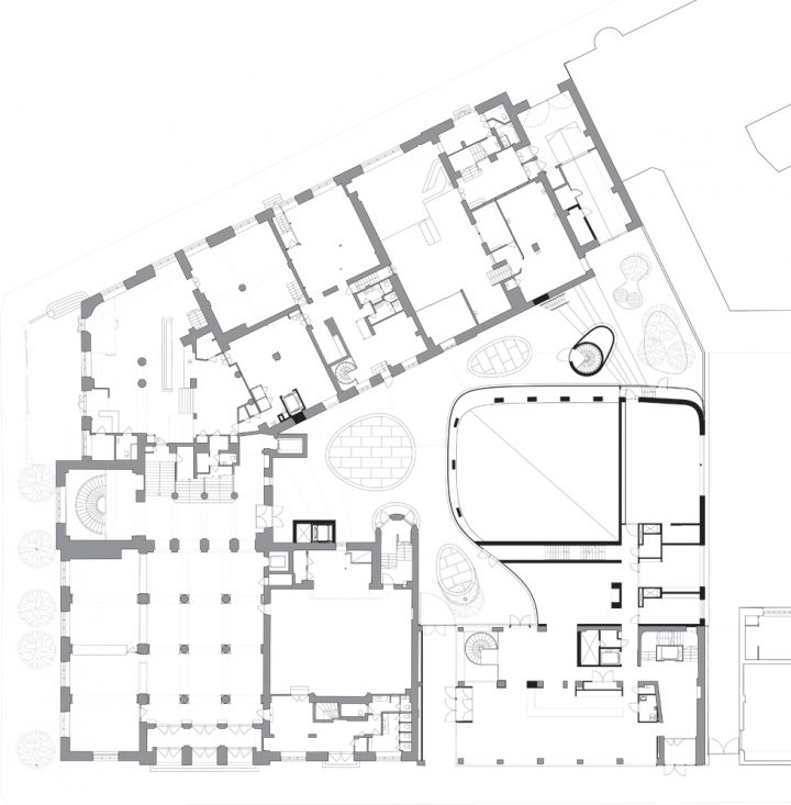 Ground floor plan with the hotel and congress centre extension by K2S Architects in bottom right corner, Paasitorni, Helsinki Workers' House