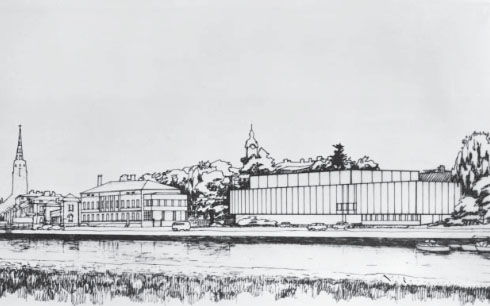 The original perspective drawing by Olaf Küttner Architects, Satakunta Museum