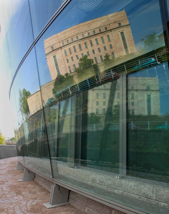 Reflection of the Parliament House on the glass façade, Little Parliament