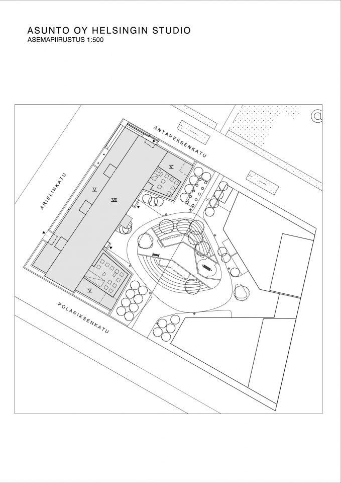 Site plan, Helsingin Studio Housing