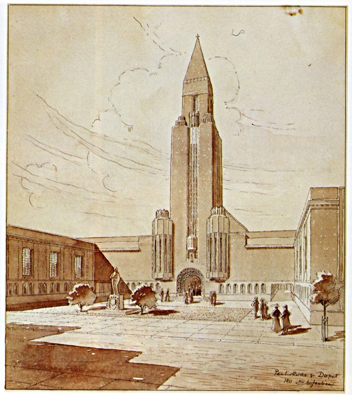 Original drawing by Eliel Saarinen in 1911, St Paul's Church