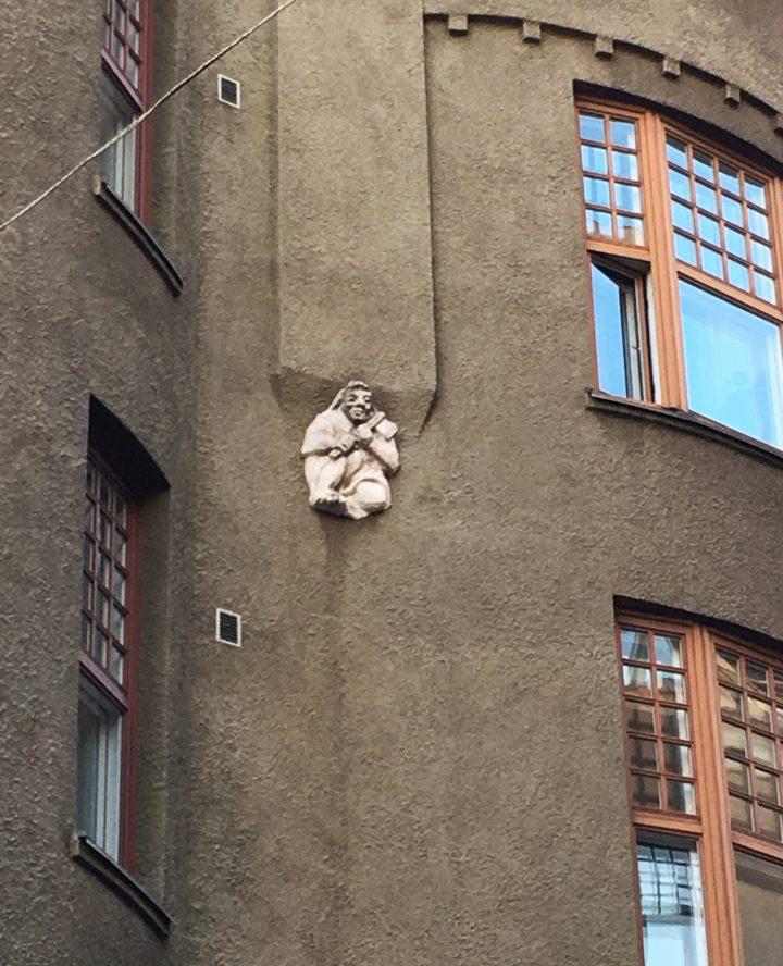 A detail of the street façade, Sanmark House