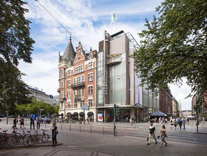 Keskuskatu street side with the 1989 extension by Gullichsen-Kairamo-Vormala Architects. , Stockmann Department Store