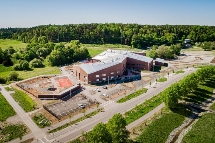 An aerial view, Syvälahti School and Community Centre