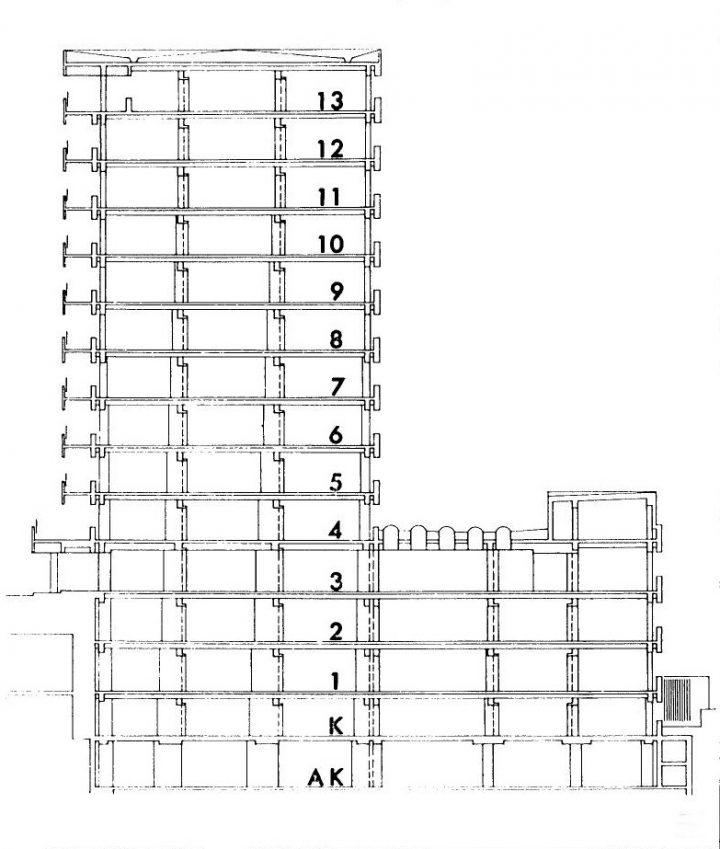 Section plan, Turku University Hospital, U Building