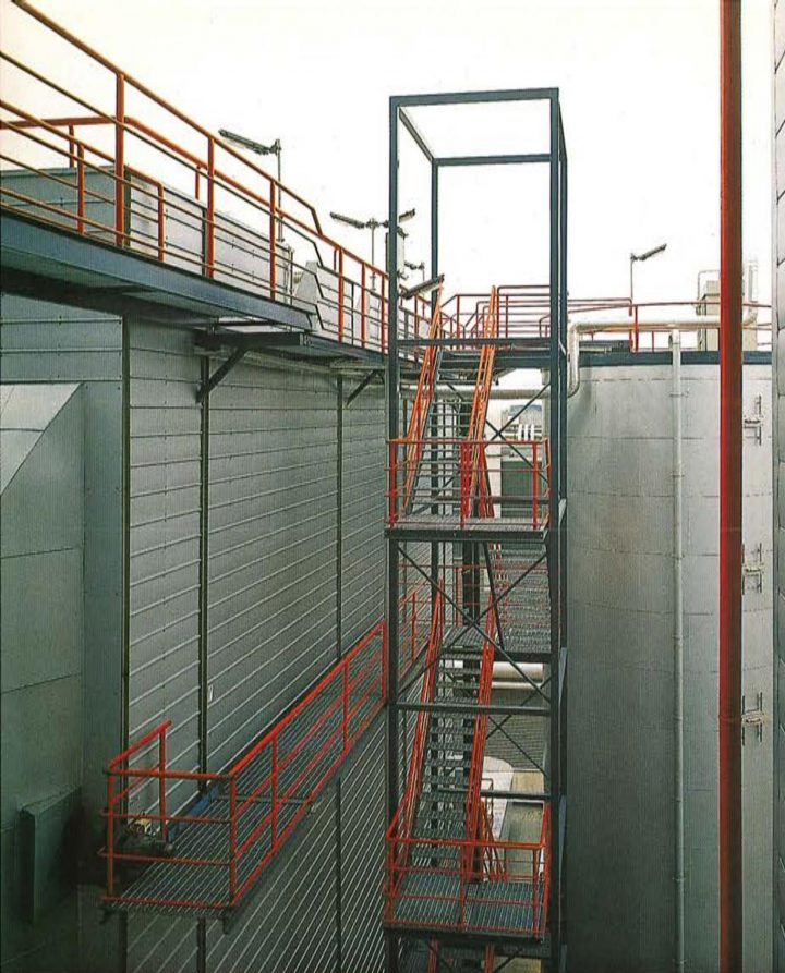 Exterior staircase and maintenance catwalks, Varkaus Paper Mill Additives Processing Unit