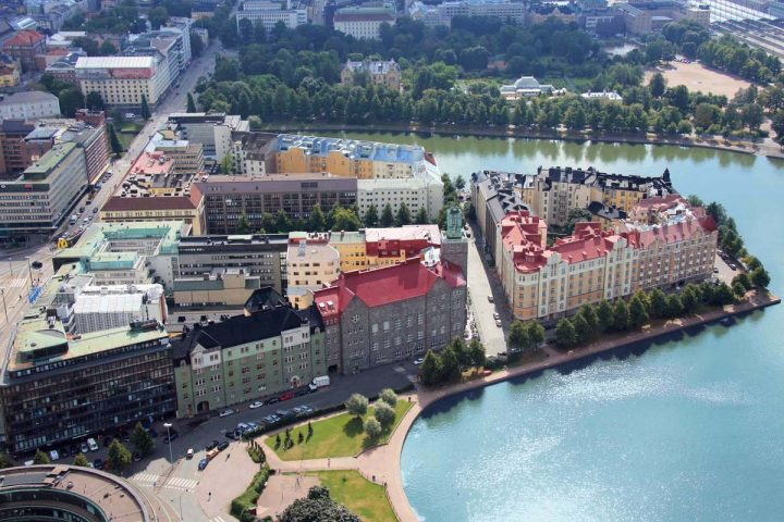 Aerial view taken before the construction of the floating restaurant in 2015, Paasitorni, Helsinki Workers' House