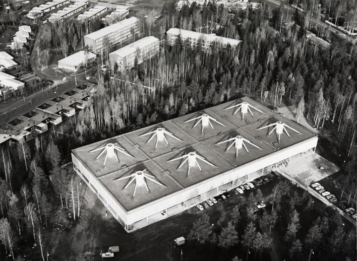 Aerial view, the first phase, The WeeGee Exhibition Centre (Weiling & Göös Printing House)