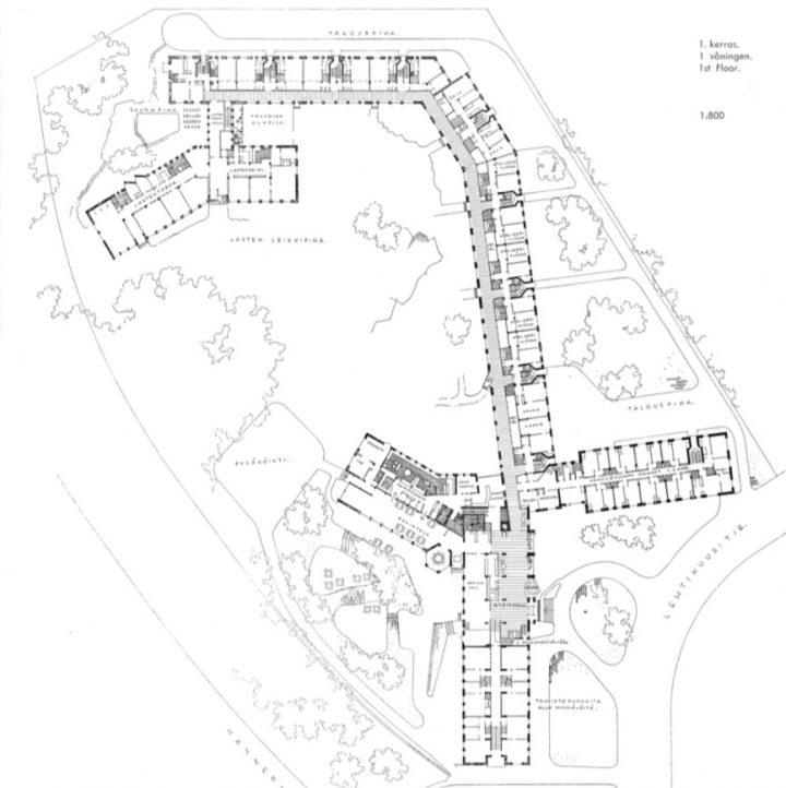 Site plan and floor plan of the ground floor, Women's Co-housing Asuntoyhteistalo