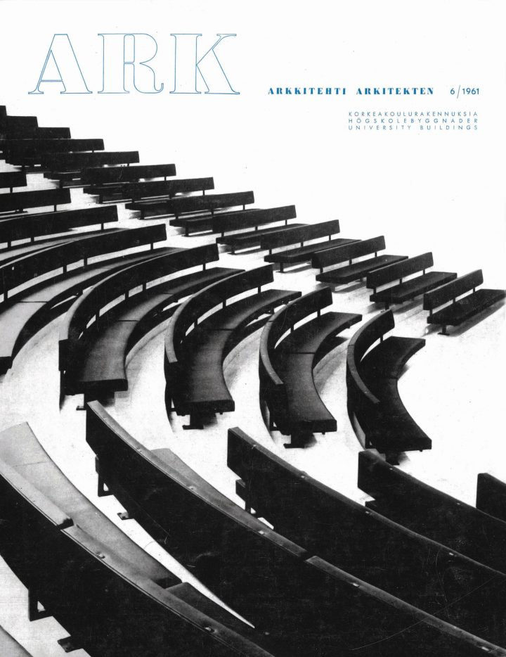 Assemblly hall on the cover of the Finnish Architectural Review 6/1961, Tampere University Main Building