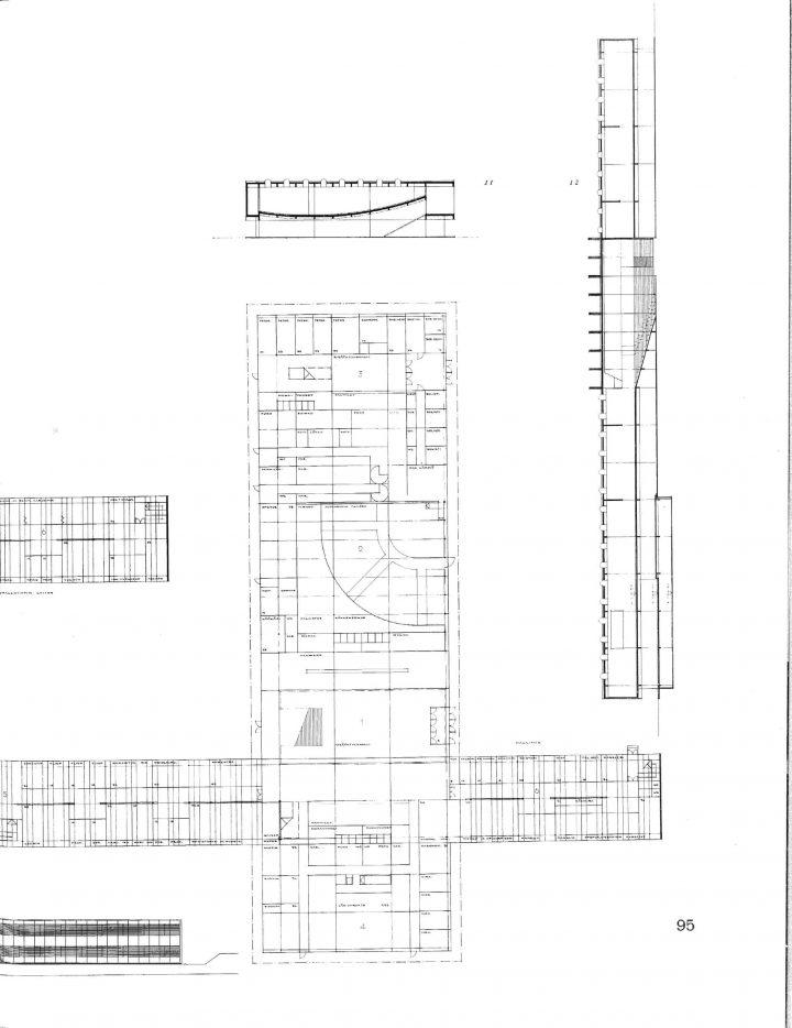 Floorplans and elevation, Tampere University Main Building