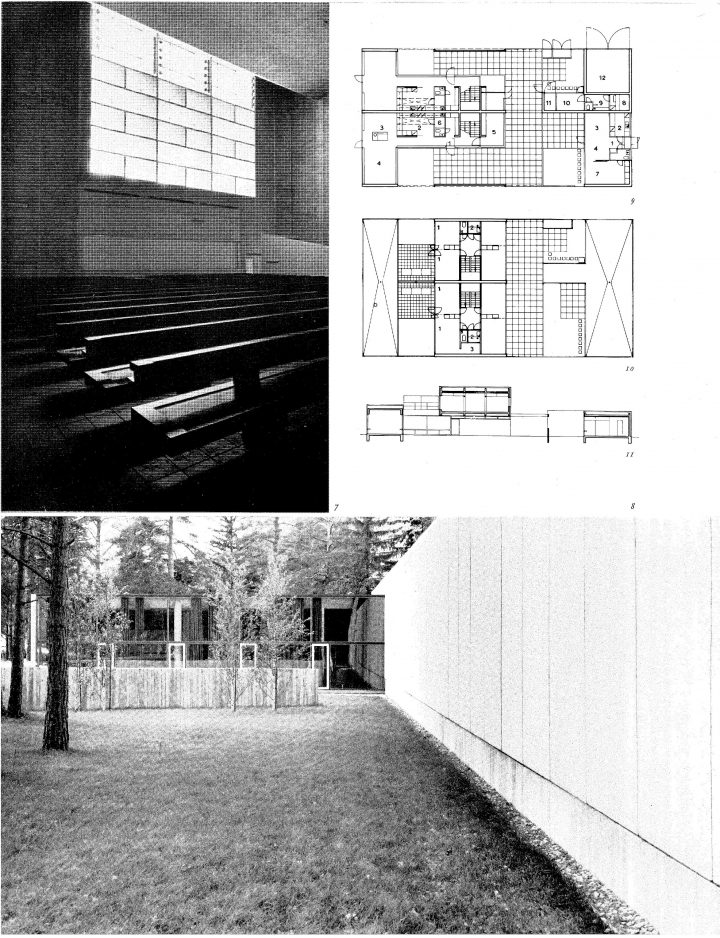 Floor plan and elevation, Tapiola Church