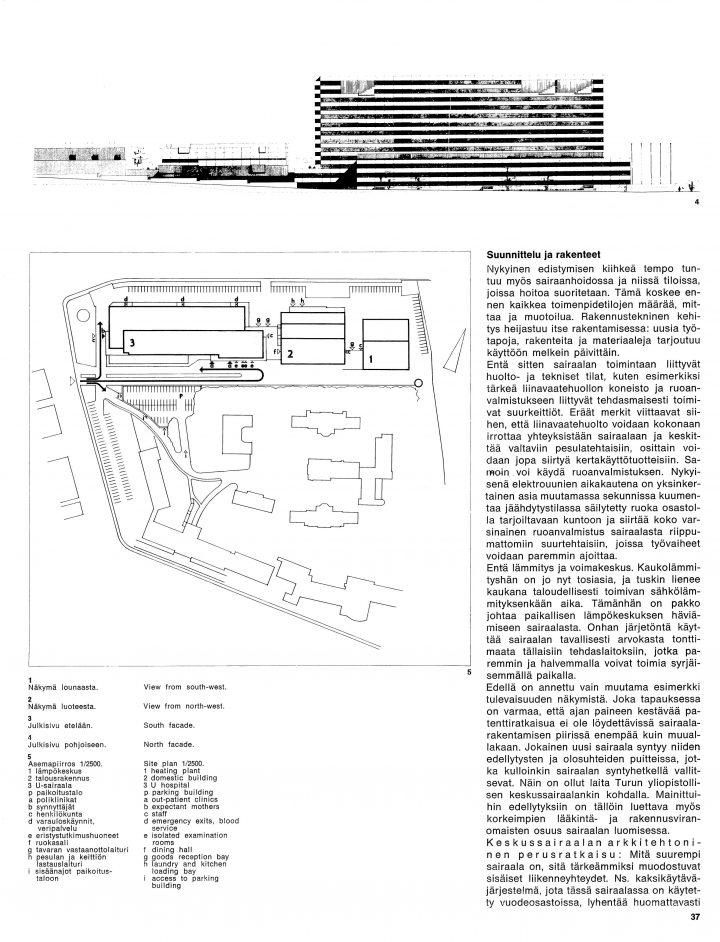 Perspective drawing and site plan, Turku University Hospital, U Hospital