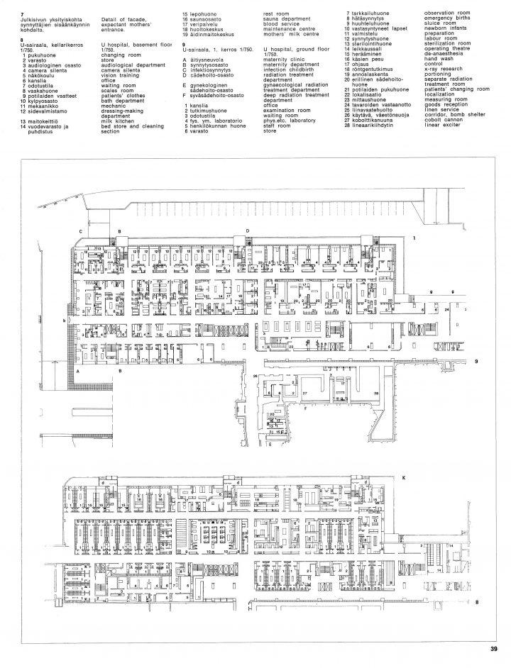 Floor plan, Turku University Hospital, U Hospital