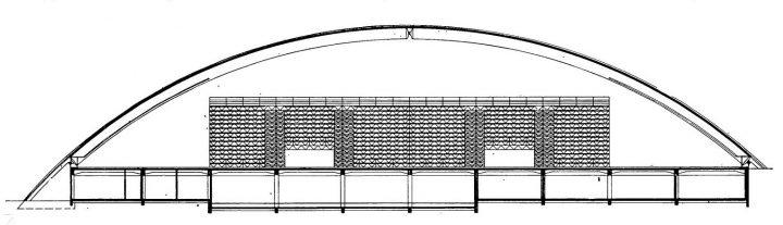 Longitudinal section drawing, Kupittaa Sports Hall