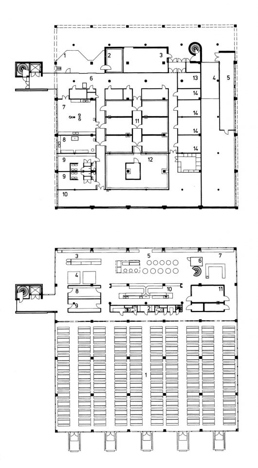 Floor plans of the dining hall building, Vekaranjärvi Garrison Centre