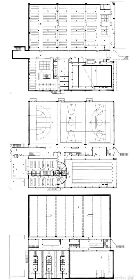Floor plans of the sports hall, Vekaranjärvi Garrison Centre