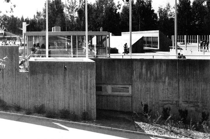 Open-air swimming pool area from the east, Riihimäki Sports Park