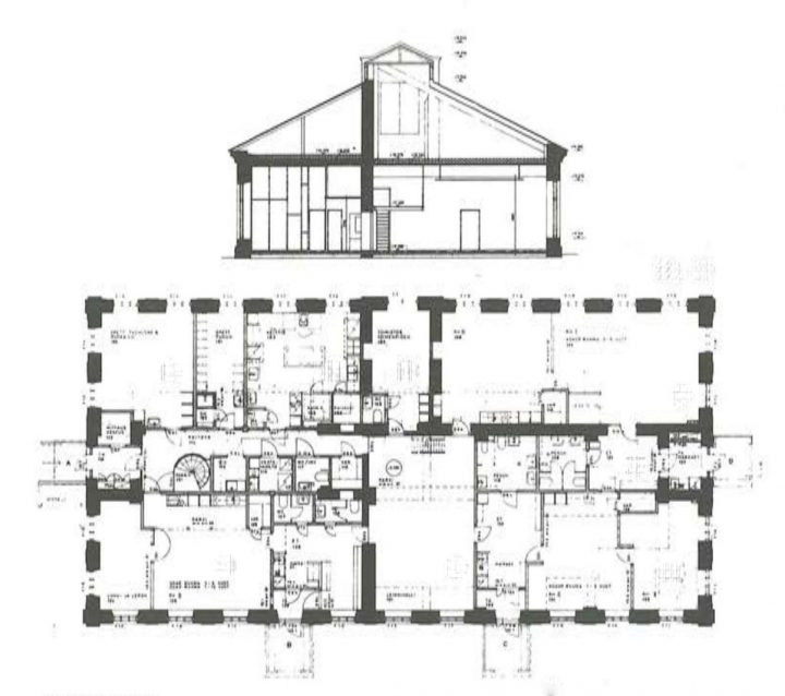 Cross section and floor plan of the ground floor of the daycare centre, Katajanokka School and Luotsi Daycare Centre