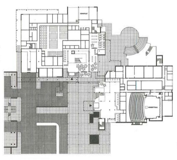 Floor plan of the ground floor, Imatra Cultural Centre