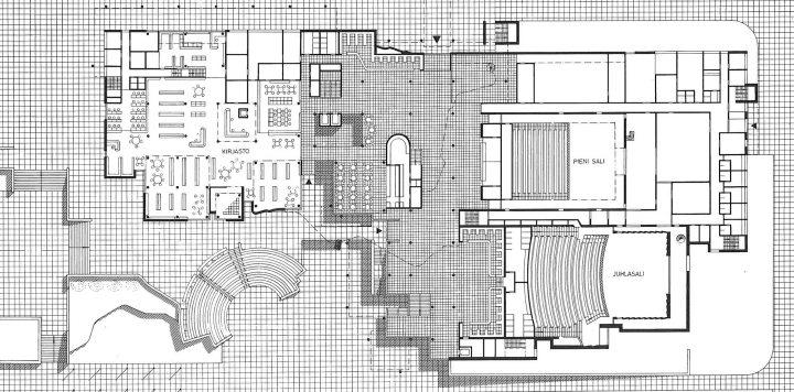Floor plan of the ground floor, Espoo Cultural Centre