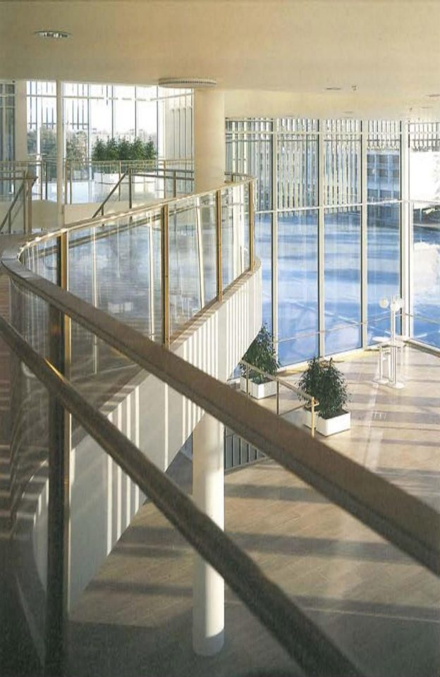 View to the main lobby from the upper lobby, Espoo Cultural Centre