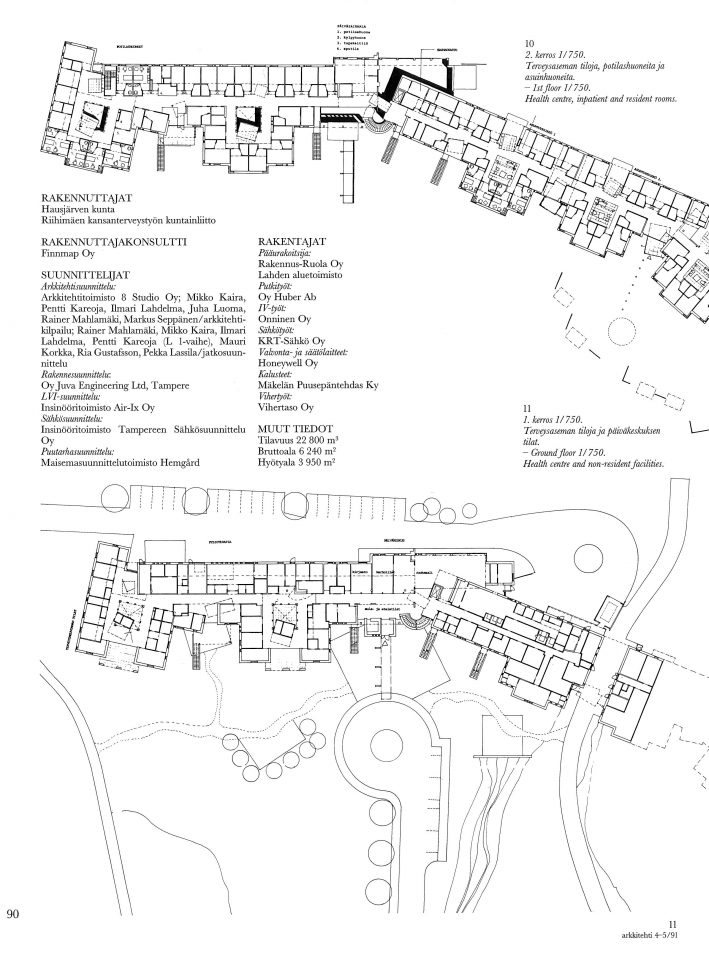 Floor plan and site plan, Hausjärvi Healthcare Centre and Home for Elderly