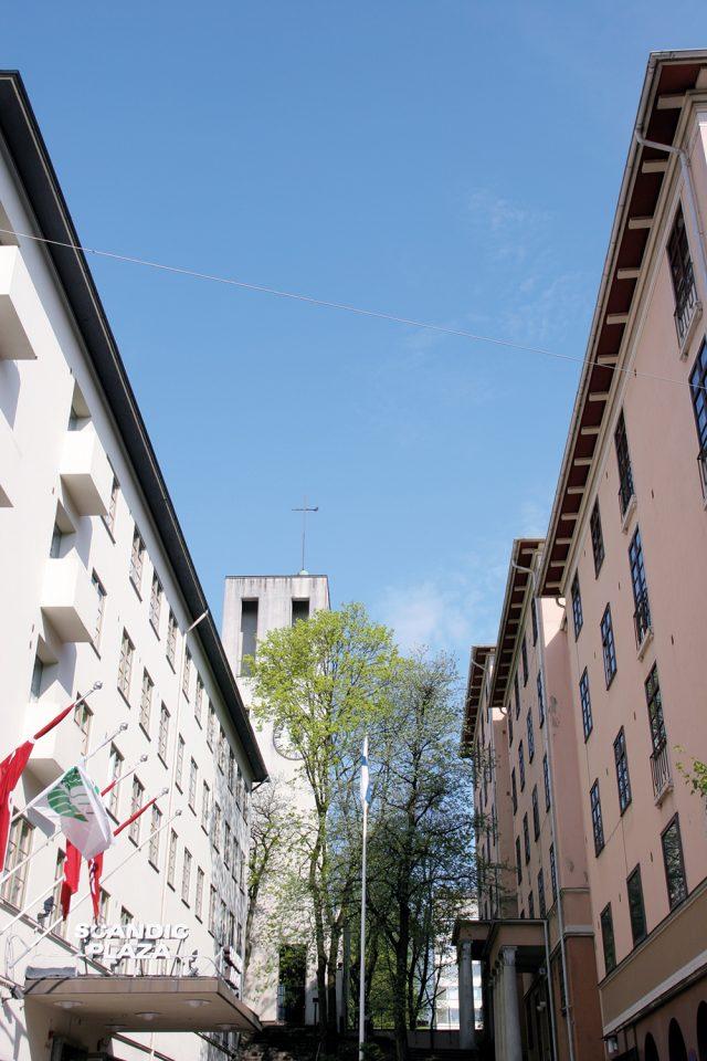 Hospitz Betel (left), campanile and Atrium apartment building, also by Bryggman., Hospitz Betel