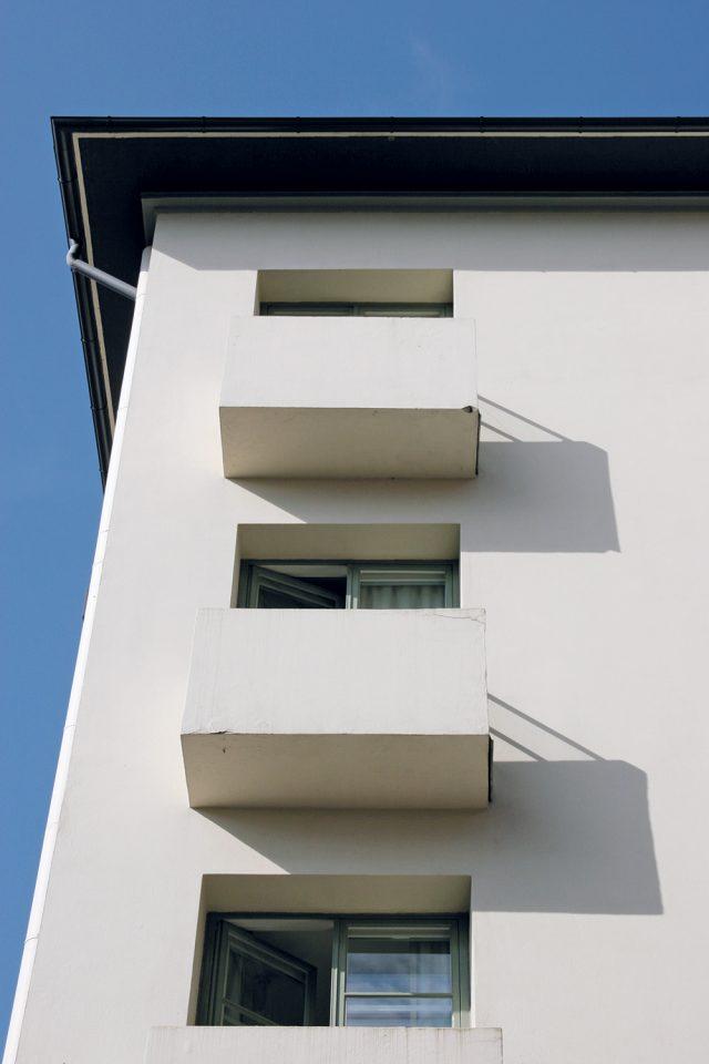 Box-like balconies on the piazza side., Hospitz Betel