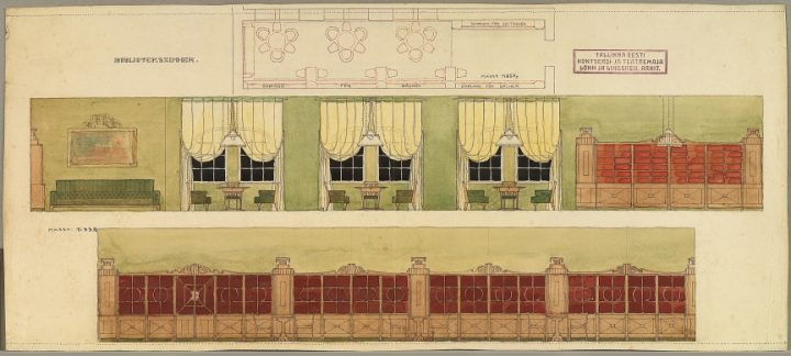 Original drawing of the library interior design, Estonia Theatre