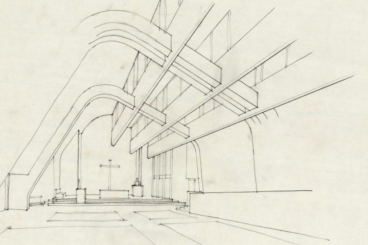 Perspective drawing, Riola Church and Parish Centre