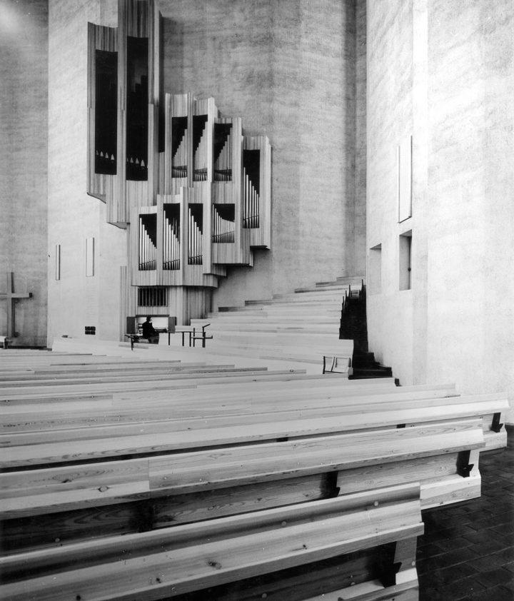 Wooden benches and organ., Kaleva Church