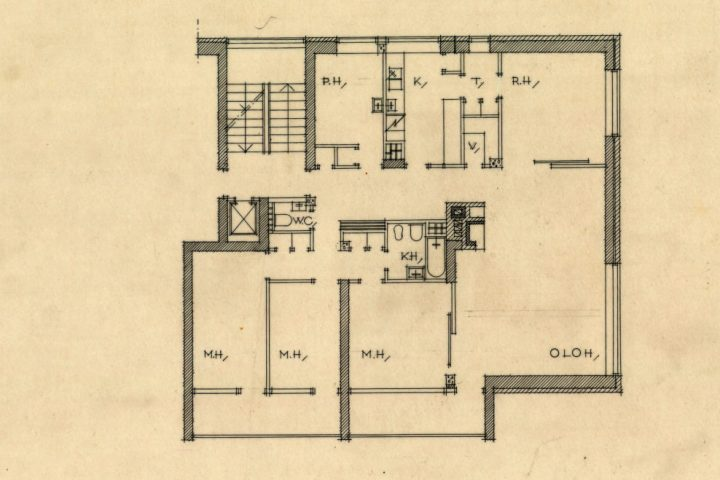 Flat floor plan, National Pensions Institute, housing