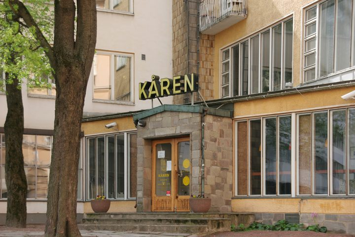 Dormitory main entrance., Kåren student union building