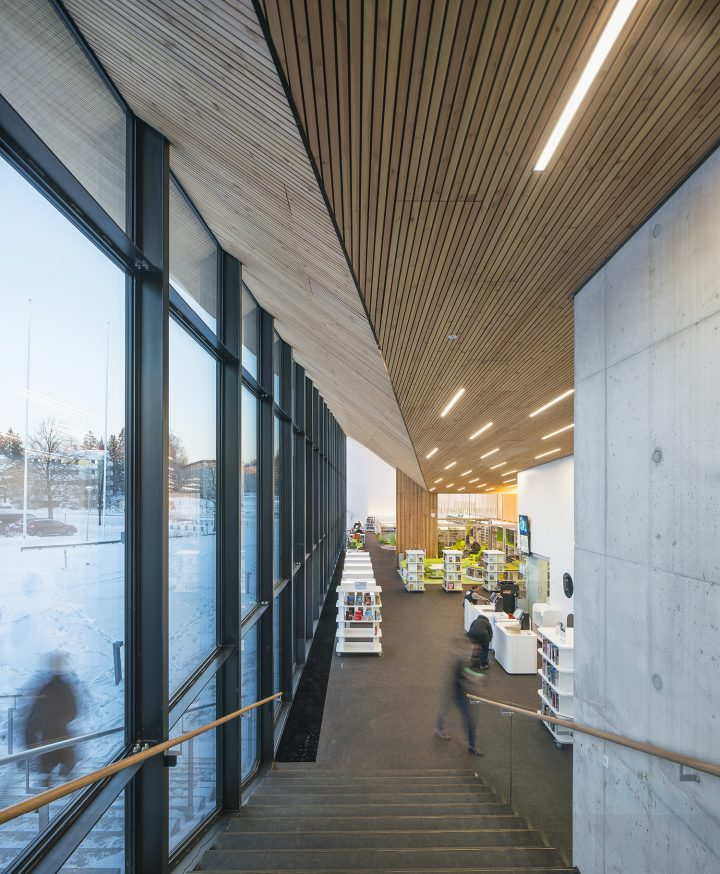 View from the main entrance down to the library, Maunula Community Centre