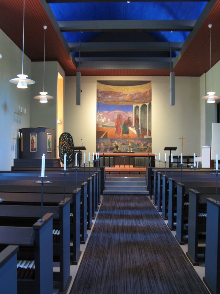 Church interior after renovation in 2016, Muurame Church