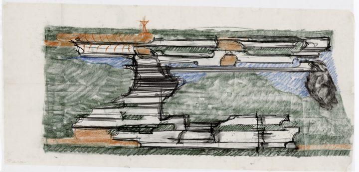 Reima Pietilä's competition sketch, New Delhi Embassy of Finland