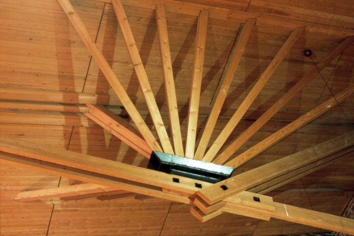 Council chamber roof beams, Säynätsalo Town Hall